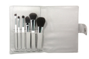 Heshu makeup Brushes 6Pcs Bamboo Charcoal Fibre Cosmetics Brush Set with Portable PU Brush Bag