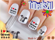 Greyhound I Love - Dog Breed Nail Decals - WaterSlide Nail Art Decals - Highest Quality! Made in USA