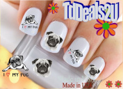 Pugs I Love - Dog Breed Nail Decals - WaterSlide Nail Art Decals - Highest Quality! Made in USA
