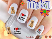 Shar Pei I Love - Dog Breed Nail Decals - WaterSlide Nail Art Decals - Highest Quality! Made in USA