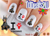 Doberman I Heart / Love - Dog Breed Nail Decals - WaterSlide Nail Art Decals - Highest Quality! Made in USA