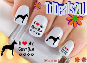 Great Dane I Love - Dog Breed Nail Decals - WaterSlide Nail Art Decals - Highest Quality! Made in USA