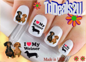 Dachshund My Weiner Dog I Love - Dog Breed Nail Decals - WaterSlide Nail Art Decals - Highest Quality! Made in USA