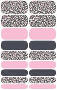 Wrap-em Nails Grey Pink Flowers Vinyl Nail Wraps