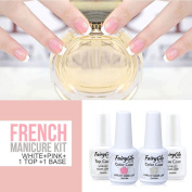 FairyGlo Gel Polish French Manicure Nail Base Top Coat Pink White Free Sticker DIY