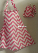 Breastfeeding Nursing Cover Set, 100% Breathable Cotton, Innovative Baby Monitor Neckline, with FREE Cotton Carrying Pouch and Pacifier Clip, Light Pink Chevron