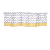 Grey and Yellow Chevron Window Valance by The Peanut Shell - 100% Cotton