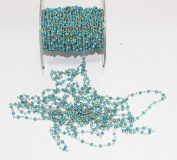 1.5m TURQUOISE COATED FACETED CABOCHON BEADED BEADS 3MM CHAIN 925 STERLING SILVER PLATED ROSARY CHAINROSARY CHAIN