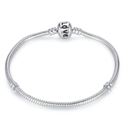 truecharms 925 Silver Love Snake Chain Bracelet Bangle Compatible With European DIY Beads Charms Dangle Barrel Clasp