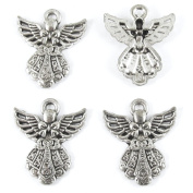 Metal Holiday Pendants-SILVER CHRISTMAS ANGEL 23x27mm