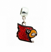 UNIVERSITY OF LOUISVILLE CARDINALS CHARM SLIDER PENDANT ADD TO YOUR NECKLACE, EUROPEAN BRACELET, DIY PROJECT, ETC.