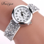 Hunputa® Duoya Brand Watches Women Luxury Crystal Women Bracelet Quartz Wristwatch Rhinestone Clock Ladies Dress Gift Watches
