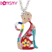 Sexy French Cat Enamel Pendant Choker Necklace - Multicolor