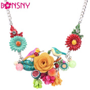 Lovely Enamel Flowers and Birds Necklace