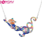 Enamel Colourful French Cat Necklace