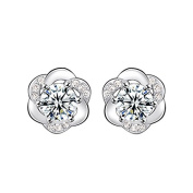 New Fashion Women 925 Sterling Silver Bling Two Side Stud Earring