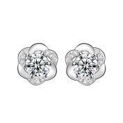 New Fashion Women 925 Sterling Silver Bling Two Side Stud Earring