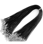 100pcs Imitation Leather Braided Wax Cord Black Rope 1.5mm 18 Inch Necklaces Chain With Lobster Claw Clasp