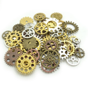 100 Gramme Assorted Antique Steampunk Gears Charms Pendant Clock Watch Wheel Gear for Crafting, DIY Jewellery
