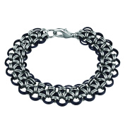Weave Got Maille KIT-A270.05 Japanese Lace Chain Bracelet Kit, Black Lace, Onyx/Silver