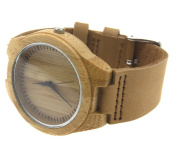 Brown Leather Strap Wooden Watch Bamboo Wooden Watch Wristwatch Gift
