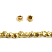 2.5mm 14kt Gold plated Brush Faceted Nugget Beads 8 inch 86 pieces