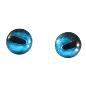 8mm Blue Octopus Glass Eyes Nautical Doll Irises for Art Polymer Clay Taxidermy Sculptures or Jewellery Making Set of 2