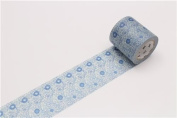 wide light cream with blue flower Washi Masking Tape deco tape