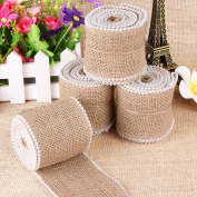 OZXCHIXU(TM) 5m Natural Jute Hessian Ribbon with Bead for Wedding Party Decoration , 5cm Widths