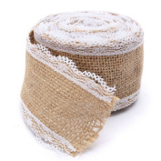 OZXCHIXU(TM) Natural Jute Hessian Ribbon with Lace Detail, 5cm Widths