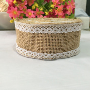 OZXCHIXU(TM) 2m Burlap Lace Craft Ribbon for Vintage Wedding Home Decor
