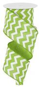 Chevron Wired Edge Ribbon (6.4cm , Lime Green White) - 10 Yards