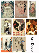 Vintage Printed Art Deco Reproduction Cards Collage Sheet #104 Scrapbooking, Decoupage, Labels