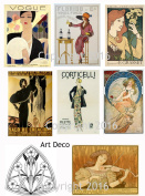 Vintage Art Deco Reproduction Cards Collage Sheet #102 Scrapbooking, Decoupage, Tags
