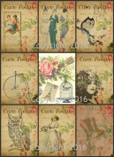 Vintage Printed French Reproduction Post Cards Collage Sheet #104 Scrapbooking, Decoupage, Labels