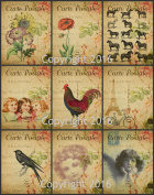 Vintage Printed French Reproduction Post Cards Collage Sheet #103 Scrapbooking, Decoupage, Labels