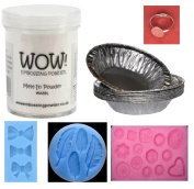WOW! USA Melt-It Embossing Powder, 10 Melt-It Aluminium Foil Pans, Ring Blanks and Set of Silicone Feathers, Bows, and Buttons Moulds Bundle 6 Items