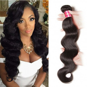 Sunwell Brazilian Virgin Hair 1 Bundle Body Wave Unprocessed Virgin Human Hair Weave Extensions 100g/pc Natural Colour Extensions 100g/Bundle, 41cm