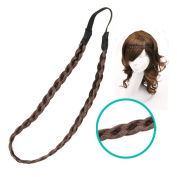 23x1cm Dark Brown Synthetic Fibre Braid Headband