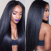 Eayon Hair® 6A Virgin Hair Glueless Human Hair Lace Front Wig Brazilian Remy Light Yaki Straight Hair Wigs with Baby Hair For African Americans 130% Density #1B 60cm