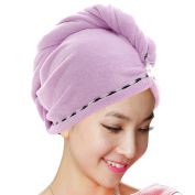 Jack & Rose Microfiber Hair Towel Premium Hair Drying Towel Super Absorbent for Different Hairstyles 23.5 * 25cm Purple