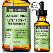 2 Bottle Value Pack - 2.5% RETINOL Anti Ageing Serum - ULTRA POTENT & EFFECTIVE / With Hyaluronic Acid, Vitamin E, Wheat Germ, Aloe & Jojoba + FREE E-Book