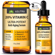 2 Bottle Value Pack - 20% VITAMIN C Anti Ageing Serum - ULTRA POTENT & EFFECTIVE / With Ferulic & Hyaluronic Acid, Vitamin E ,Aloe & Jojoba + FREE E-Book
