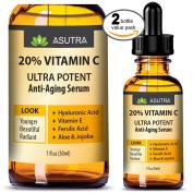 2 Bottle Value Pack - 20% VITAMIN C Anti Ageing Serum - ULTRA POTENT & EFFECTIVE / With Ferulic & Hyaluronic Acid, Vitamin E ,Aloe & Jojoba + FREE E-Book