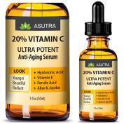 20% VITAMIN C Anti Ageing Serum - ULTRA POTENT & EFFECTIVE / With Ferulic & Hyaluronic Acid, Vitamin E ,Aloe & Jojoba + FREE E-Book