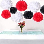 Somnr® Set of 6 Mixed White Red Black Wedding Flower DIY Tissue Paper Pom Poms Anniversary Birthday Party Girl Room Hanging Decoration by Somnr