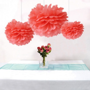 Somnr® Pack of 12Pcs Mixed 3Sizes Coral Tissue Paper Pom Poms Decorative Flowers Wedding Centrepieces New Year Birthday Bridal Shower Party Decoration Hanging Favours by Somnr