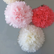 Somnr® Set of 6 White Coral Blush Pink Tissue Paper Pompoms Wedding Birthday Bridal Shower Party Hanging Decoration by Somnr