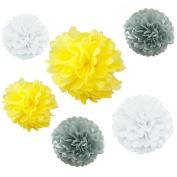 Somnr® Set of 6 White Grey Yellow Tissue Paper Pompoms Wedding Birthday Party Nursery Baby Room Hanging Decoration by Somnr