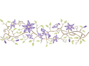 Clematis Stencil - (size 50cm w x 17cm h) Reusable Wall Stencils for Painting - Best Quality Wall Border Flower Stencil Ideas - Use on Walls, Floors, Fabrics, Glass, Wood, Terracotta, and More...